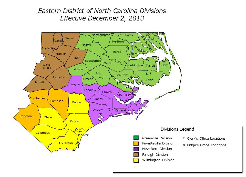 Carolina Us Map.Divisional Maps Eastern District Of North Carolina United States